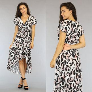 NEW1606 Mullet Weiß Leopard-Kleid mit Bund