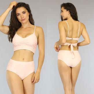Hellrosa Plissee mit hohen Taille Triangel-Bikini