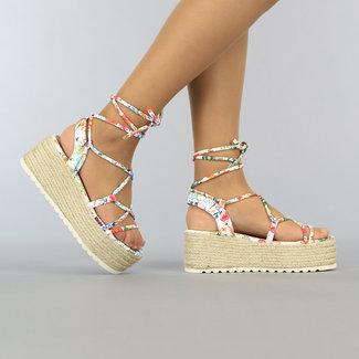 NEW1606 Weiß Wrap-Plattform Sandalen mit Blumendruck