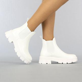 Weiß Lederimitat Chelsea-Stiefel mit Sohle Grove