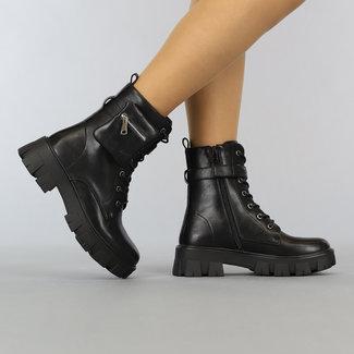 NEW1606 Schwarz-Leder-Blick Biker Boots mit Pouch
