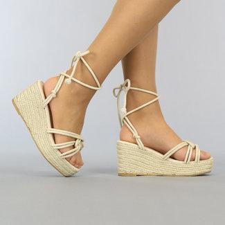 Beige Verpackungs-Keil-Sandalen