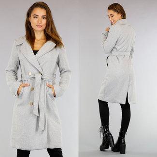 NEW3108 Grau Mantel mit Bund