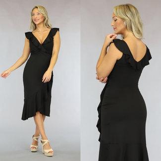 Schwarz-Verpackungs-Kleid mit Rüschen