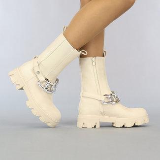 Beige Suede-Look Chelsea Boots-Kette
