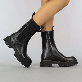 NEW2807 Basic Black-Leder-Blick Chelsea-Stiefel