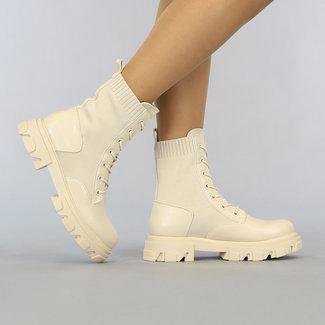 NEW2807 Beige Socke Stiefeletten mit Schnürung