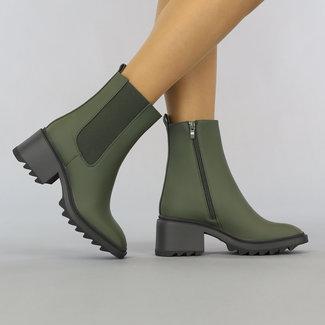 NEW2807 Grünes Ankle Boot mit Blockabsatz Grove