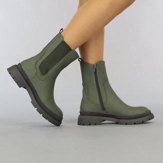 NEW2807 Grüne Chelsea-Stiefel mit Reißverschluss