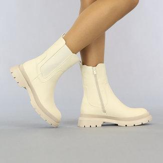 NEW2807 Beige Chelsea-Stiefel mit Reißverschluss