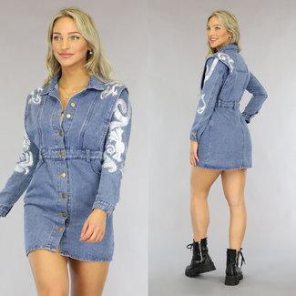 NEW0408 Denim / Kleid mit Stickerei