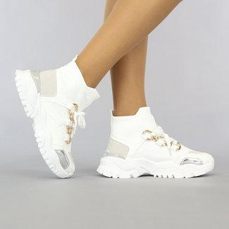NEW0408 Grove Weiß Socken Turnschuhe Kette