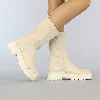 NEW1108 Beige Suede-Look Chelsea Calf Boots