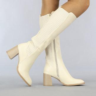 Beige Stiefel Lange Lederlook Blockabsatz