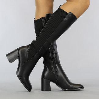 NEW1108 Lange schwarze Leder-Blick Blockabsatz Stiefel