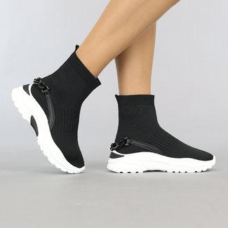 NEW1108 Hohe Socke Schwarze Turnschuhe mit Kettendetail