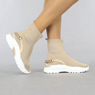 NEW1108 Hohe Taupe-Socken-Turnschuhe mit Kettendetail
