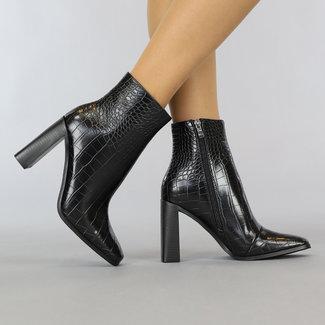 NEW1108 Croco Black Boots mit Ferse und quadratische Nase