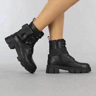 NEW1108 Schwarze Schnürstiefel mit Klickverschlüssen und Tasche