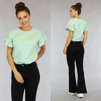 Mint Green lässige T-Shirt mit Rüschen Ärmeln