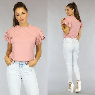 Hellrosa lässige T-Shirt mit Rüschen Ärmeln