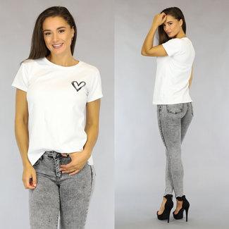 Weiß lässiger Love T-Shirt