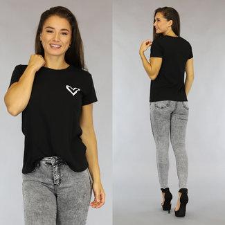 Schwarz Los Fit-Liebe-T-Shirt
