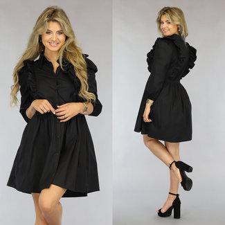 NEW1808 Schwarz Plissee-Kleid mit Rüschenbluse
