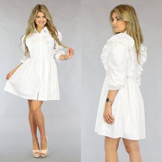 NEW1808 Weiße Bluse Plissee-Kleid mit Rüschen