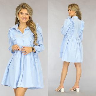 NEW1808 Light Blue Bluse Plissee-Kleid mit Rüschen