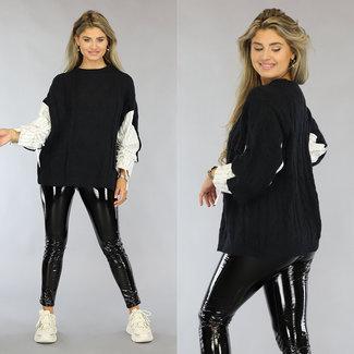 Schwarz Strickpullover mit Zopfmuster gestreifte Bluse