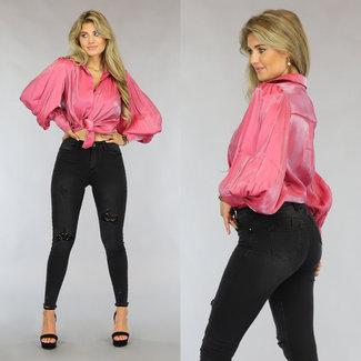 NEW1808 Schauen Sie rosa Satin-Bluse mit Plissee Sleeve