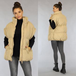Übergroße Vest Camel