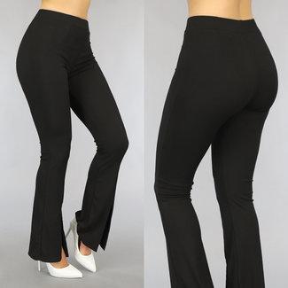 Schwarze elastische Rib Flair Hose mit Split