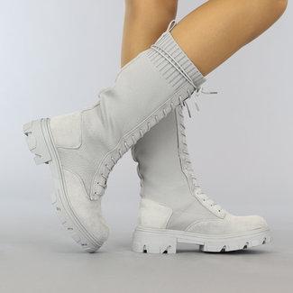 NEW2508 Lange graue Veloursleder-Optik-Spitze-Socken-Boot