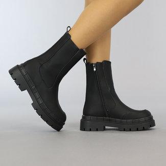 NEW2508 Schwarz-Leder-Look Stiefel mit Reißverschluss