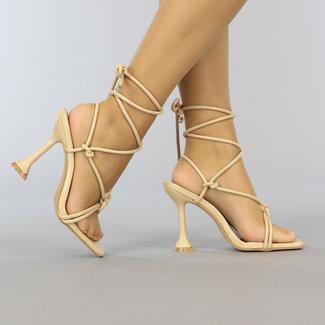 Beige-Leder-Blick-Verpackungs-Sandalen