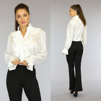 NEW2508 Weiße Bluse mit Rüschen und Glitzer Themen