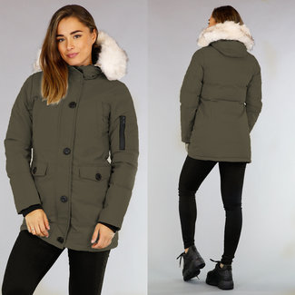 NEW2909 Khaki Quilted Parka mit beige Fauxfell