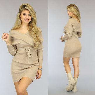 NEW2909 Taupe Rib Handling Kleid mit Taillenband