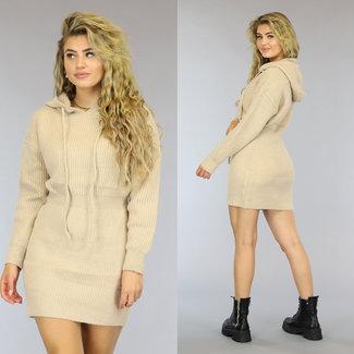 NEW2909 Beige gestricktes Hoodie-Kleid mit Kapuze