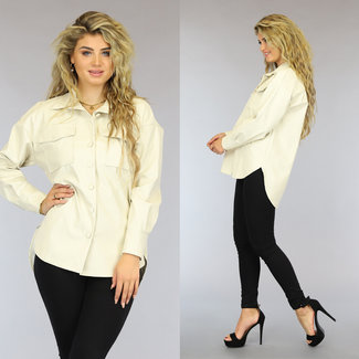 NEW2909 Creme Lederlook-Bluse.