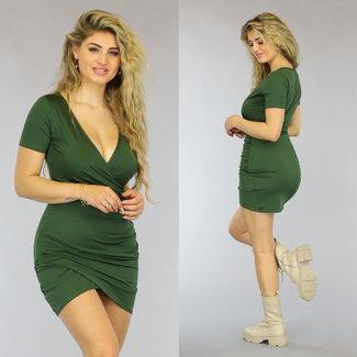 NEW0610 Grünes Umstellung Bodycon-Kleid mit Falten