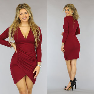 NEW0610 Wine Red Longsleeve Bodycon-Kleid mit Falten