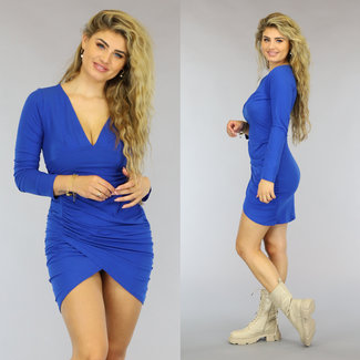 NEW0610 Blaues Longsleeve Bodycon-Kleid mit Falten