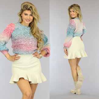 NEW0610 Flauschiger gestrickter Multicolor-Pullover