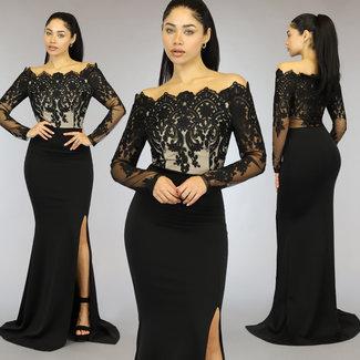 NEW1310 Schwarzes Schulterball-Prom-Kleid mit bestickten Details