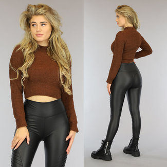 NEW1310 Fluffy Brown Crop Pullover