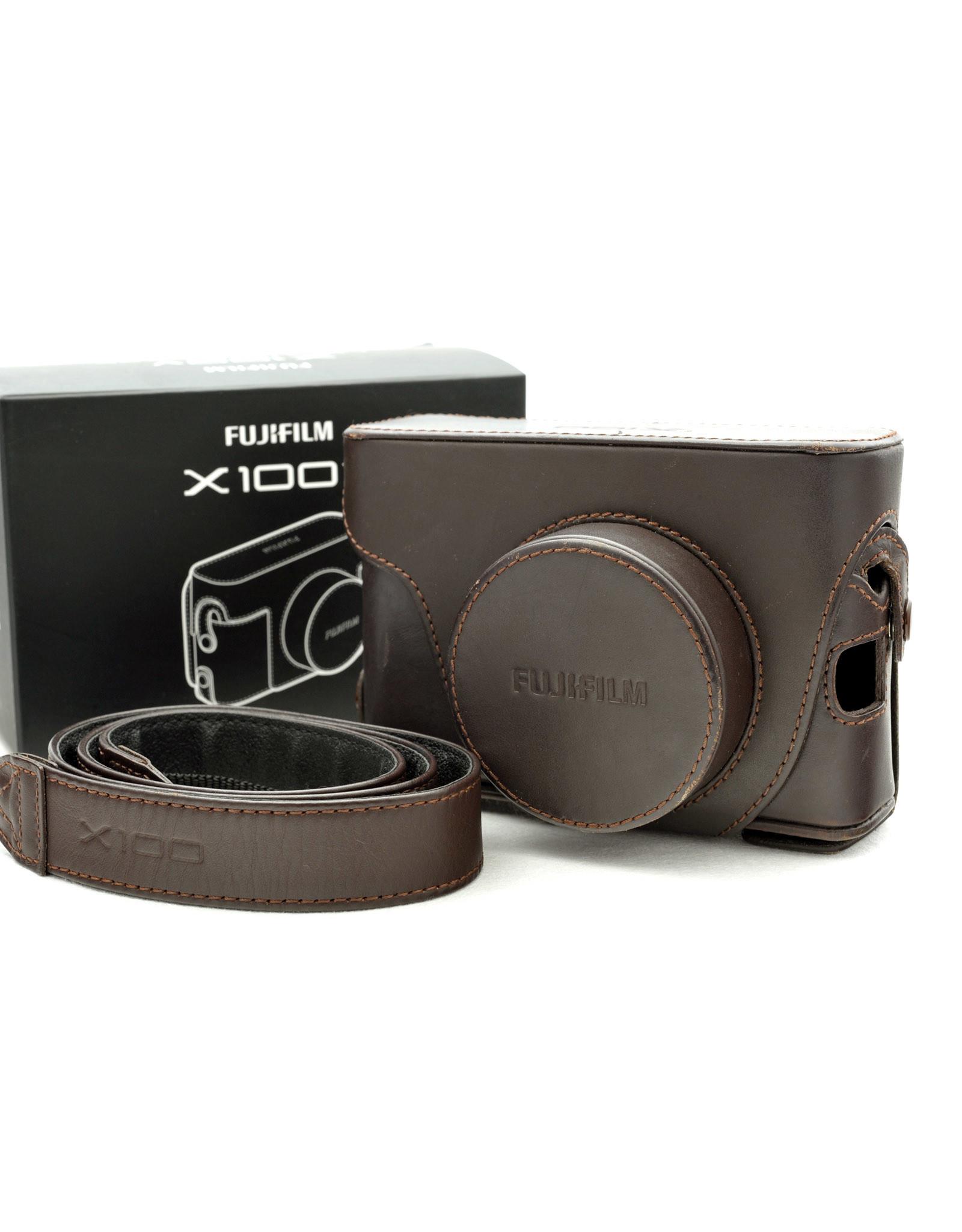 Fuji Fuji X-100 Brown Leather Case with Shoulder Strap  AP1072703
