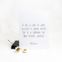 Mini poster voor mama • Ik heb je door de jaren heen